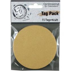 "Fundamentals Circle Tags 15/Pkg 3"" - Kraft"