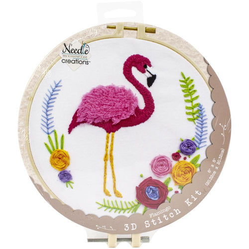 "Fabric Editions Needle Creations 3D Stitch Kits 8"" - Flamingo"