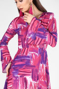 Women's Patterned Fuchsia Dress - Eva Secret