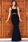 Women's Fish Model Black Evening Dress - Eva Secret