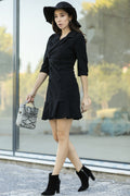 Women's Button Black Velvet Short Dress - Eva Secret