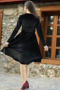 Women's Wrap Collar Black Velvet Short Dress - Eva Secret