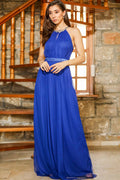 Women's Gemmed Tulle Saxe Long Evening Dress - Eva Secret