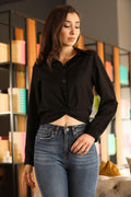 Women's Elastic Waist Black Shirt - Eva Secret