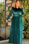 Oversize Front Wrap Model Green Velvet Evening Dress - Eva Secret
