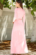 Women's Pearl Embroidered Pink Velvet Evening Dress - Eva Secret