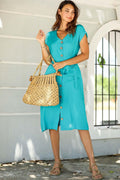 Women's Button Turquoise Midi Dress - Eva Secret