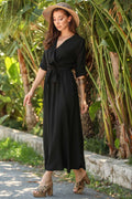 Women's Wrap Black Long Dress - Eva Secret