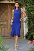 Women's Frill Hem Saxe Midi Dress - Eva Secret