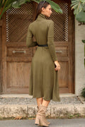 Women's Turtleneck Khaki Dress - Eva Secret