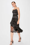 Women's Glitter Lace Detail Black Dress - Eva Secret