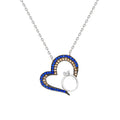 Women's Multi-color Zircon Gemmed Heart Pendant 925 Carat Silver Necklace - Eva Secret