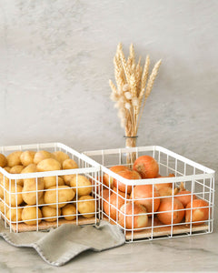 Basket with Wooden Tray Set
