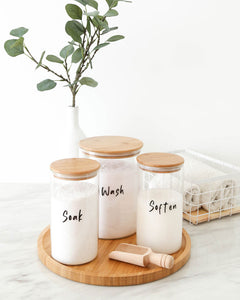 Glass & Bamboo Laundry Set