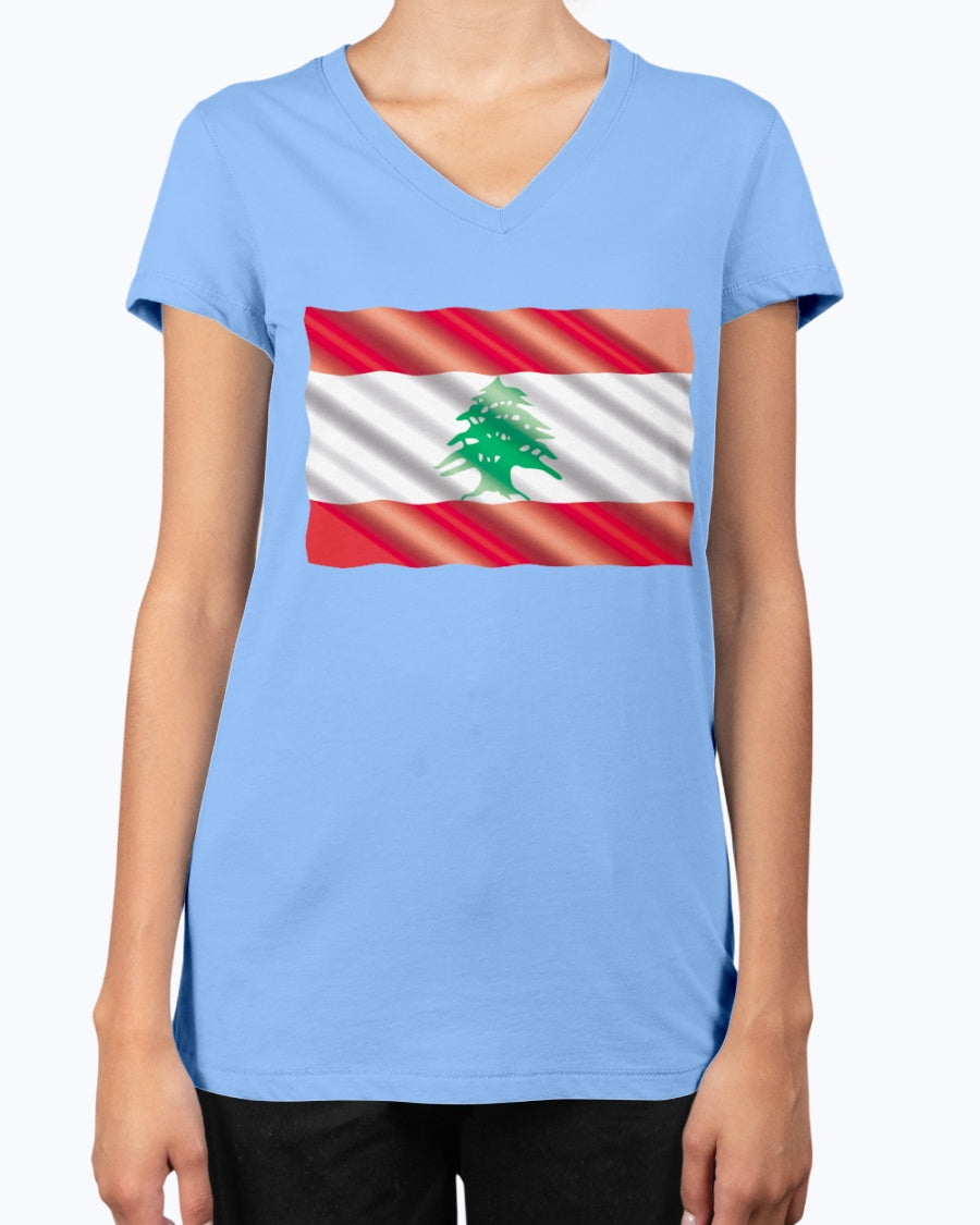 Ladies Waving Lebanese Flag V-Neck