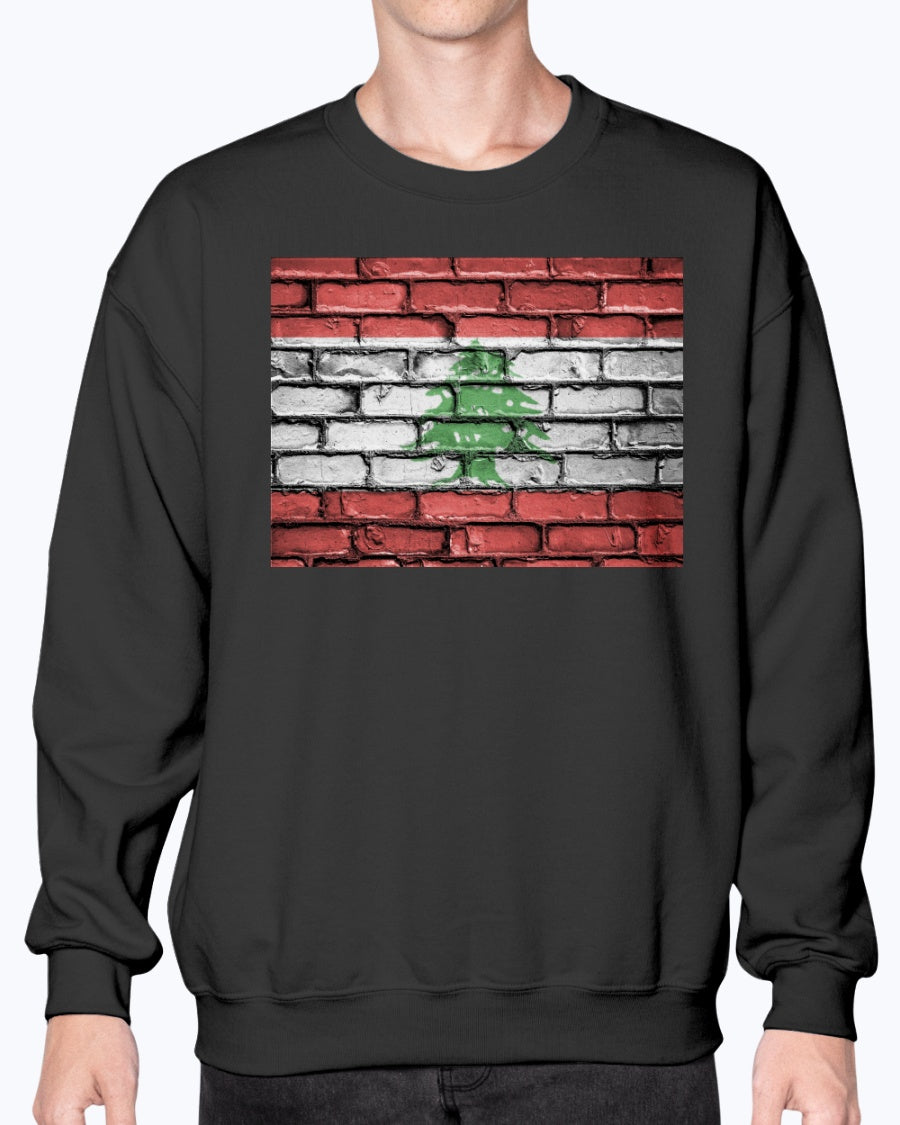 Lebanese Flag Brick Wall Pattern Crew Sweatshirt