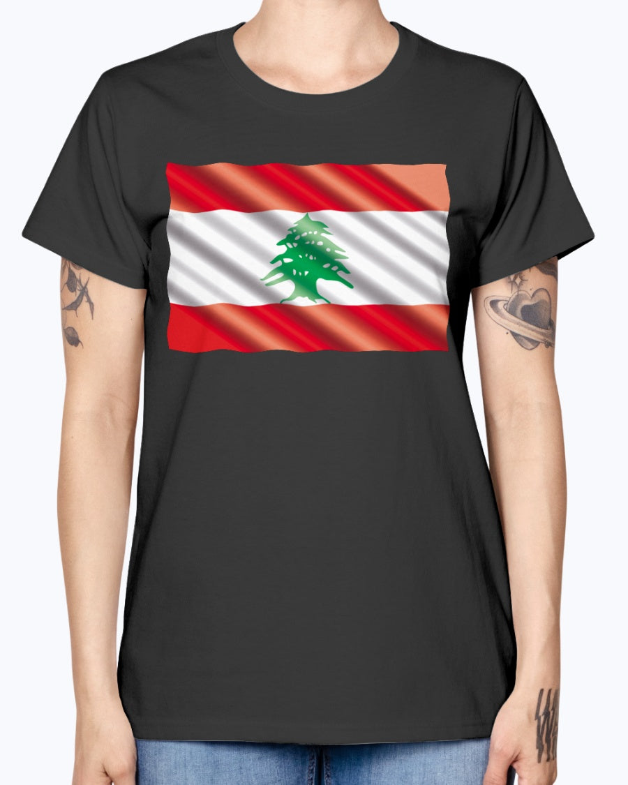 Ladies Missy T Waving Lebanese Flag