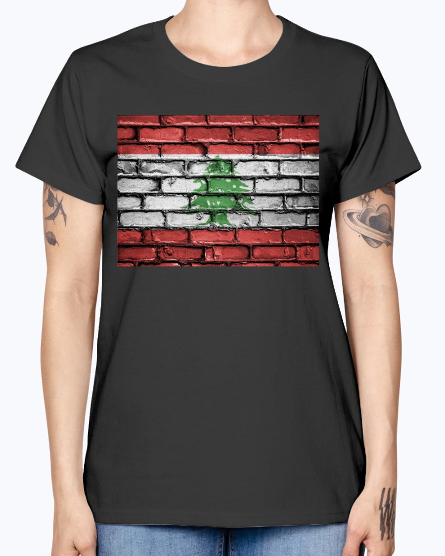 Ladies Missy T Lebanese Flag Brick Wall Pattern