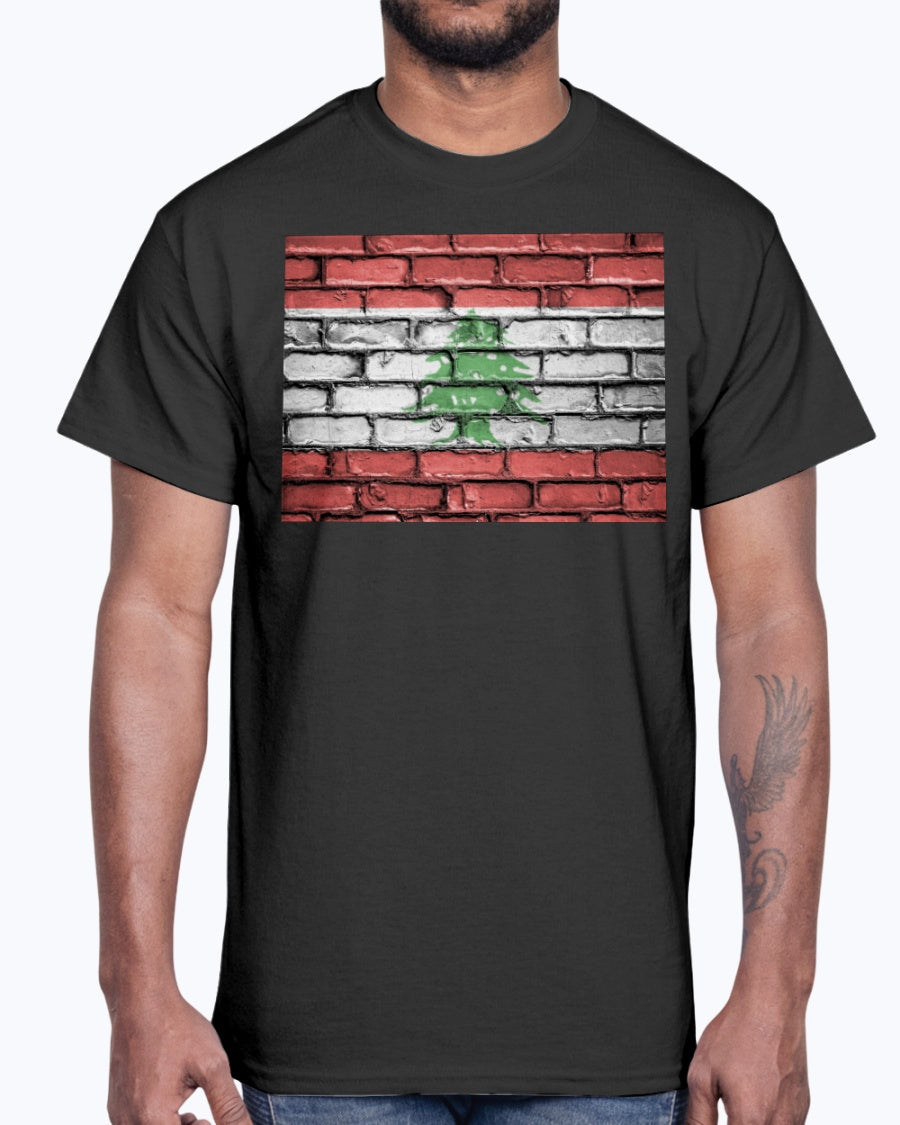 Lebanese Flag on Brick Wall Shirt