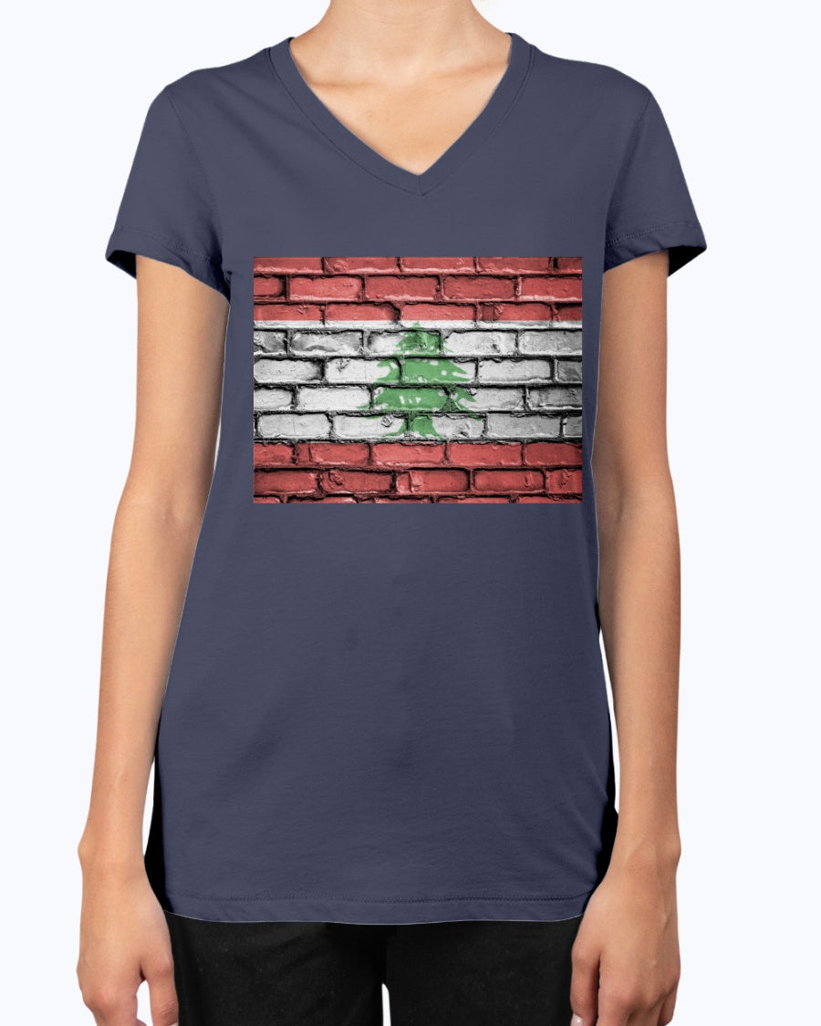 Ladies Lebanese Flag Brick Wall Pattern V-Neck