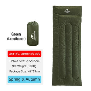 CHENNO Lightweight Compact Cotton Single Hiking Sleeping Bag Waterproof Square Packable Summer Outdoor Camping Sleeping Bag