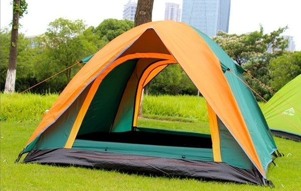 CHENNO 3-4 Person Double Layer Camping Tent With Double Door Outdoor Waterproof Awning Tent 200x180x140cm for Fishing Camping Party