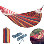 Load image into Gallery viewer, CHENNO 250*150cm 2 People Outdoor Canvas Camping Hammock Bend Wood Stick steady Hamak Garden Swing Hanging Chair Hangmat Blue Red