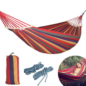 CHENNO 250*150cm 2 People Outdoor Canvas Camping Hammock Bend Wood Stick steady Hamak Garden Swing Hanging Chair Hangmat Blue Red