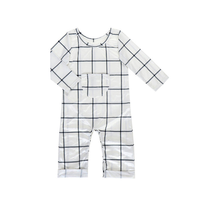 Boys' Grey & White Checkered Romper