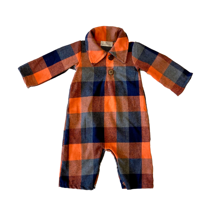 Boys' Check Plaid Collared Romper