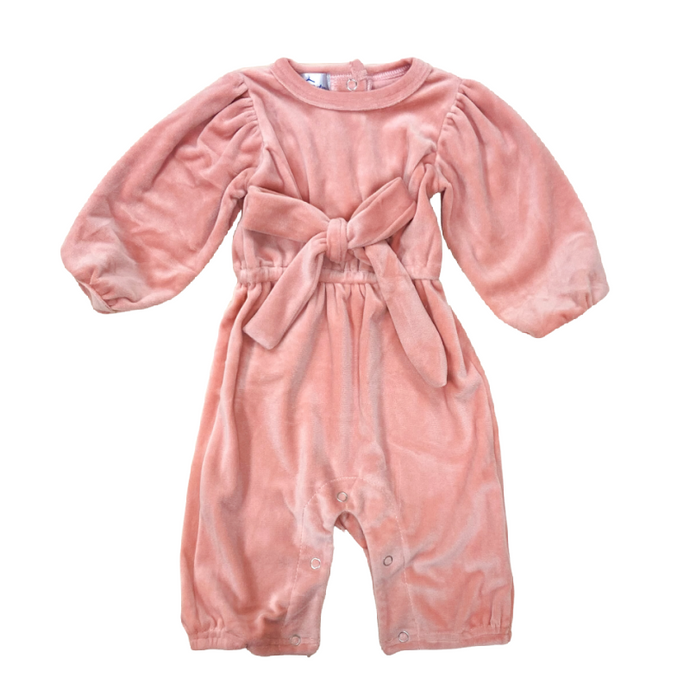 Girls' Peachy Pink Velvet Bow Romper