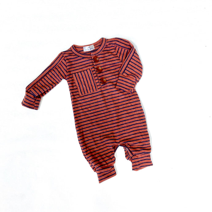 Boys' Rust & Navy Stripe Romper