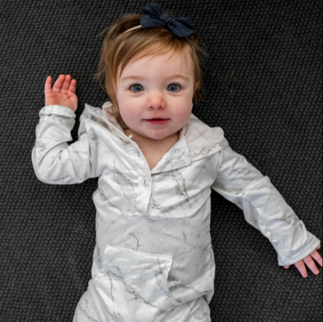 White Marble Hooded Romper