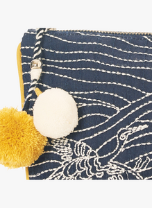 Embroidered Clutch with Pom-Pom Tassel