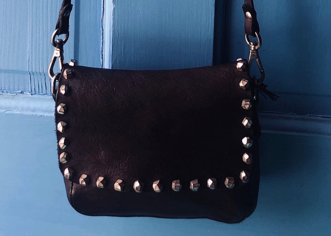 Small Washed Black Leather Crossbody Bag with Matera Studs