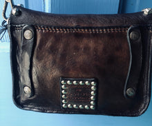 Load image into Gallery viewer, Small Washed Black Leather Crossbody Bag with Matera Studs