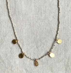 Sterling Silver Bead Necklace with Gold Dots