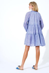 Balloon Sleeve Dress Short in Blue Tetris