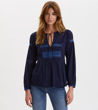 Load image into Gallery viewer, Smocked/Embroidered Long Sleeve Blouse