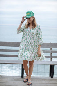 Short Green Print  Cotton Dress
