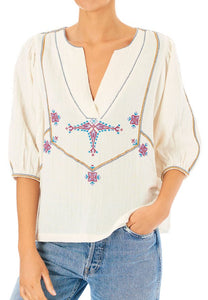 Vivien Top Embroidered Cotton Top