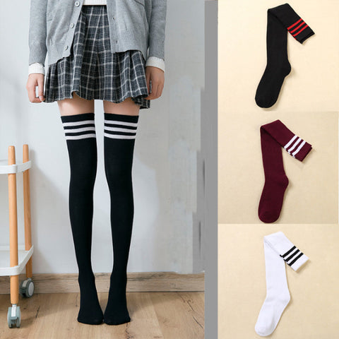 'Mysterious Ways' Striped Tigh High Socks