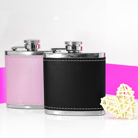 His & Hers Hip Flask, Leather Hip Flasks 3oz