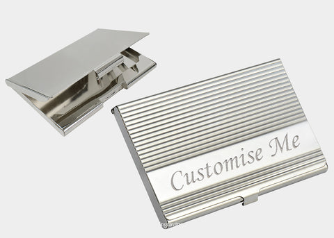 Personalised engraved gifts for him such as engraved business card holders for men