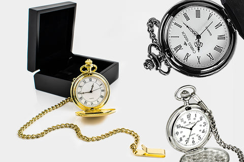 Personalised engraved gifts for him such as engraved pocket watches