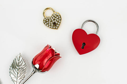 Pad Locks and Metal Silver Plated Rose - The Perfect Anniversary Gift!