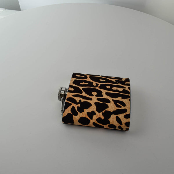 Leopard Print Wrapped 6oz Hip Flask