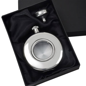 5oz Silver Round Hip Flask with Funnel in Gift Box