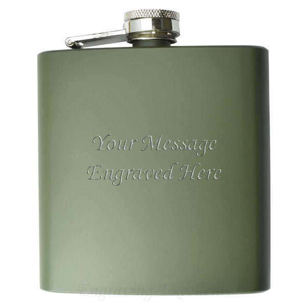 Engraved Army Green 6oz Hip Flask