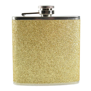 6oz Hip Flask Coated in Glitter - Blue, Purple, Gold